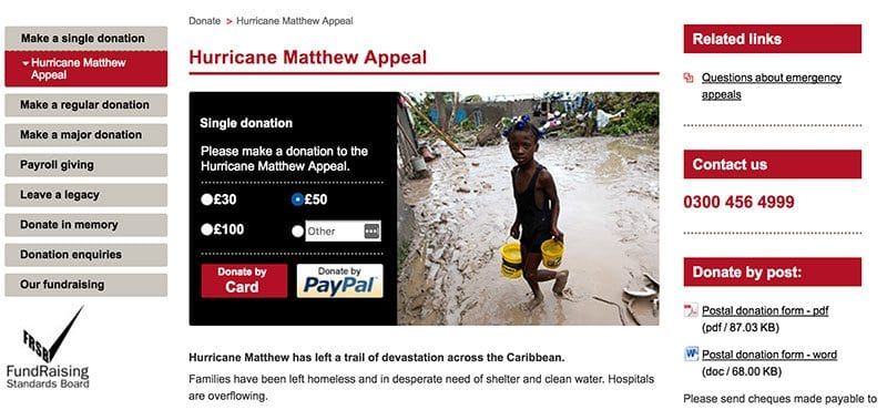 British Red Cross' Hurricane Matthew appeal form