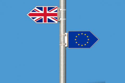 brexit sign. UK one-way, Europe the other.
