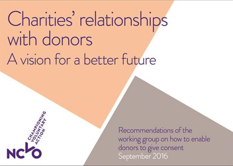 Cover of Charities' relationships with donors by NCVO, September 2016