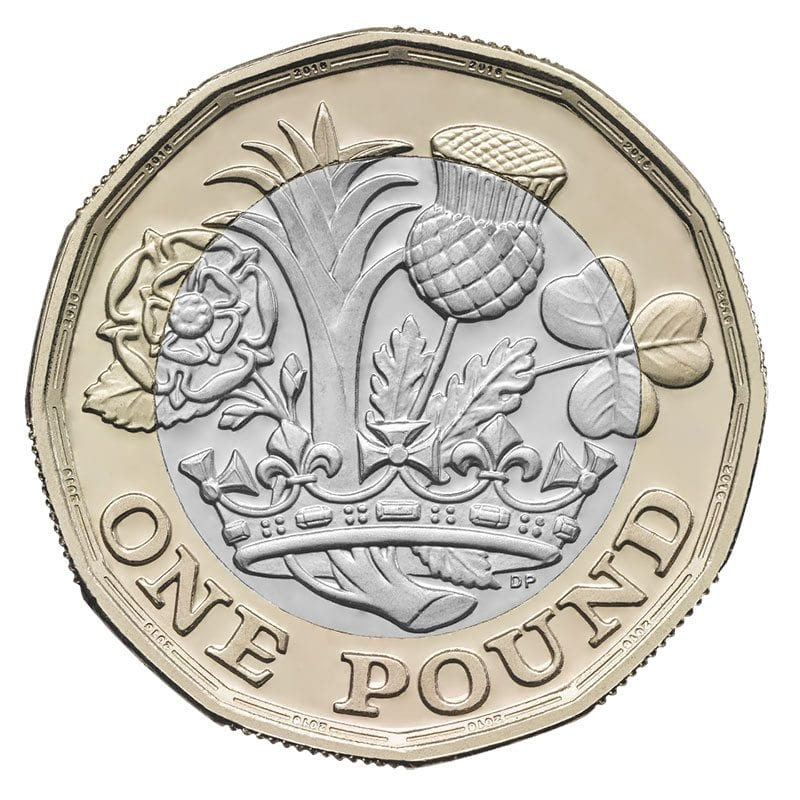 2017 design of one pound coin - reverse