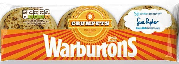 Warburtons crumpets in aid of Sue Ryder
