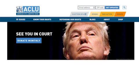 Screenshot of ACLU's website showing Donald Trump