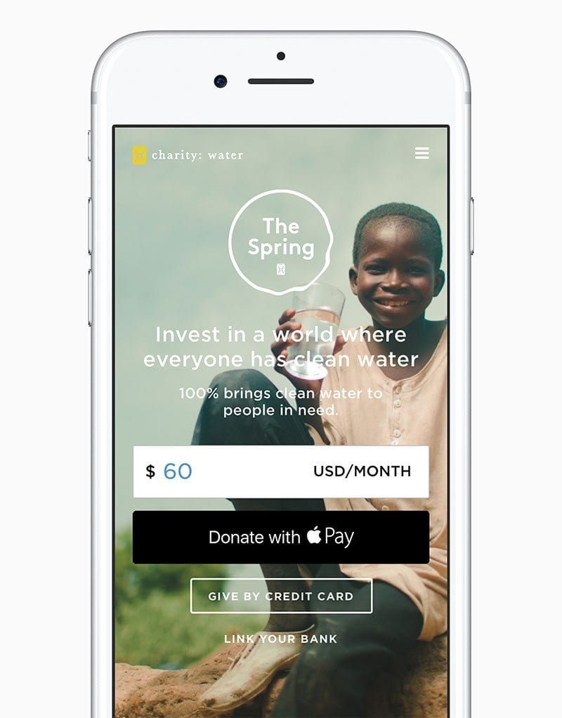 Donate to charity: water via Apple Pay