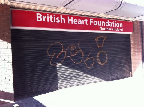 British Heart Foundation shop in Belfast, Northern Ireland. Photo: Howard Lake