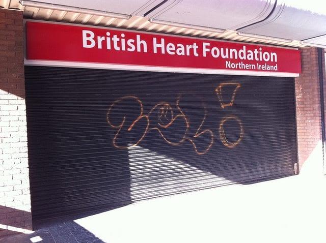 British Heart Foundation shop in Belfast, Northern Ireland. Photo: Howard Lake