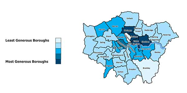 Generous London Boroughs