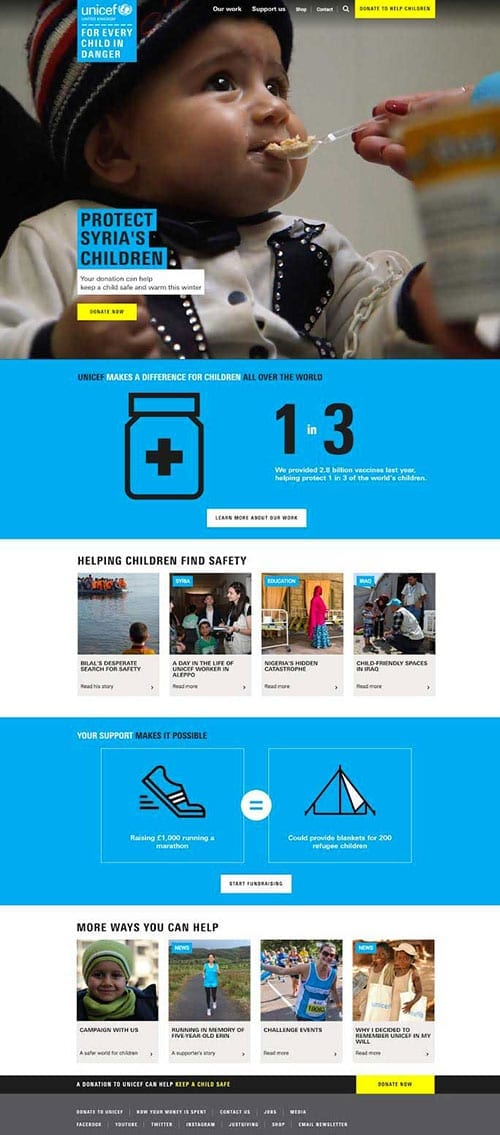 New Unicef UK website design by Manifesto