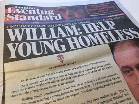 Prince William on front page of London Evening Standard