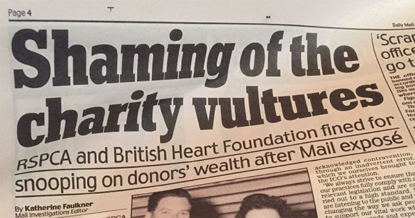 Daily Mail 'shaming of the charity vultures' p4 on 6 December 2016