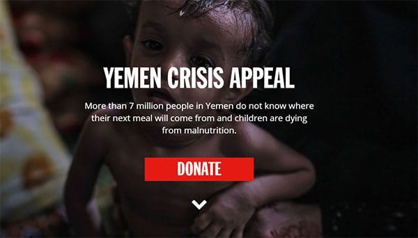 DEC Yemen Crisis Appeal - DEC's front page on 12 December 2016 (detail)