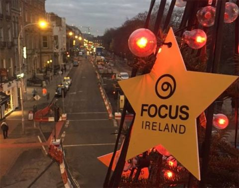 Focus Ireland star on a Christmas tree in Dublin