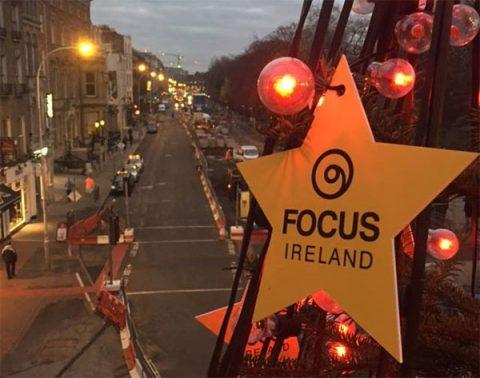 Focus Ireland star on a Christmas tree in Dublin