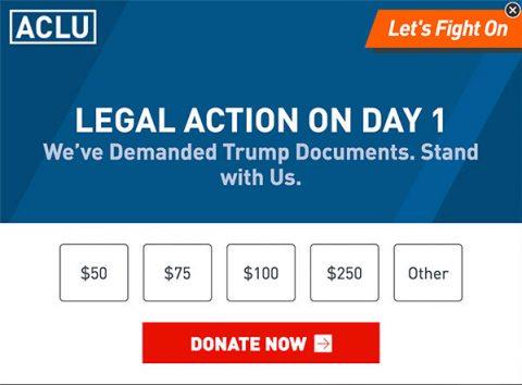 ACLU donation pop-up