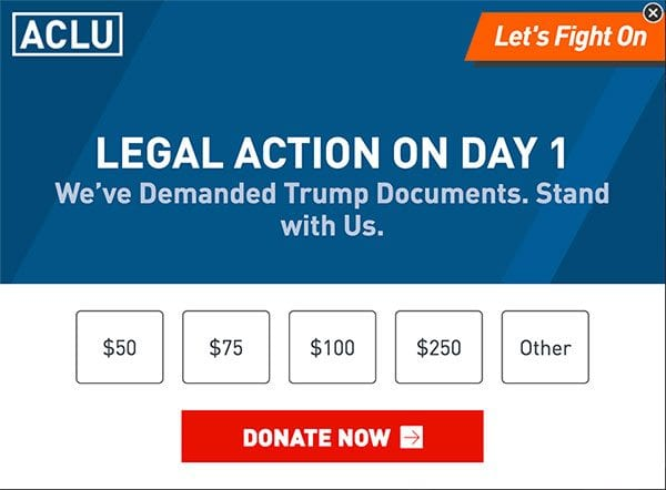 ACLU donation pop-up