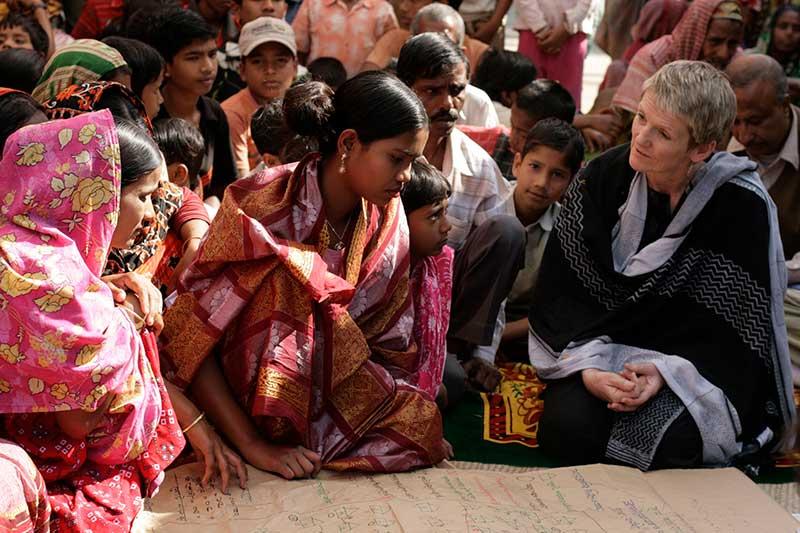 Barbara Frost, WaterAid's CEO, in Bangladesh. Photo: WaterAid / Abir Abdullah