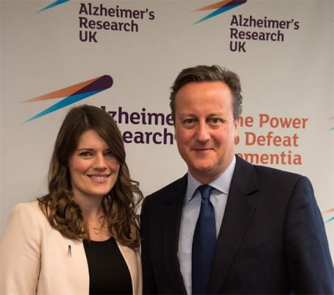 David Cameron with Hilary Evans, Chief Executive at Alzheimer's Research UK