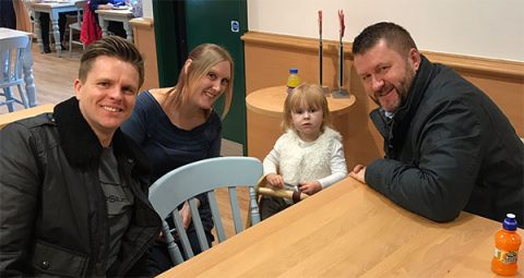 Jake Humphrey with Freya and her parents - photo: Jake Humphrey