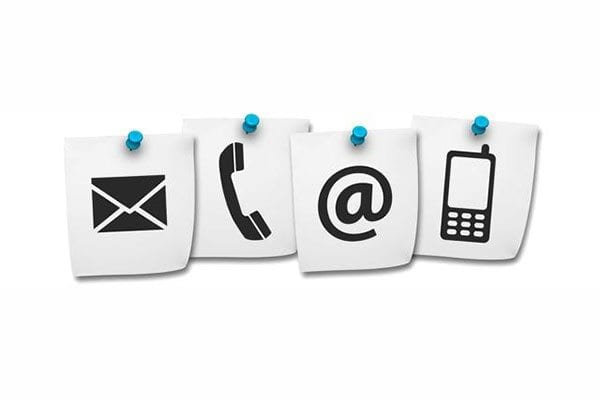 Communications channels - email, phone, post and text