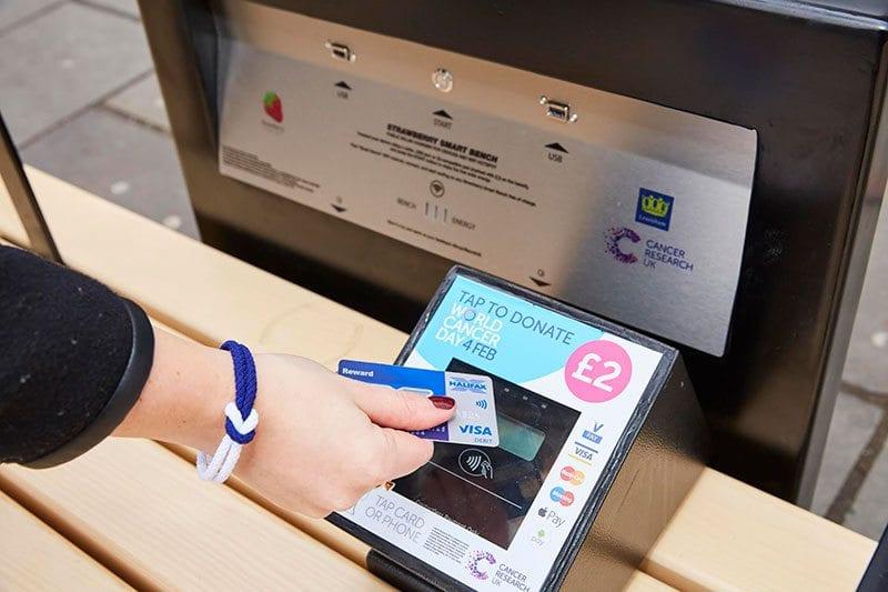 Donating to CRUK via Smart Bench