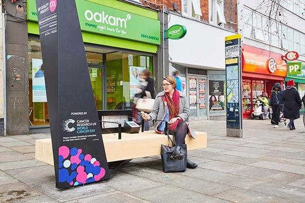 CRUK contactless bench in Lewisham