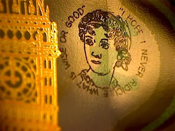 Jane Austen engraving on a £5 by Tony Short - photo: Tony Huggins Gallery