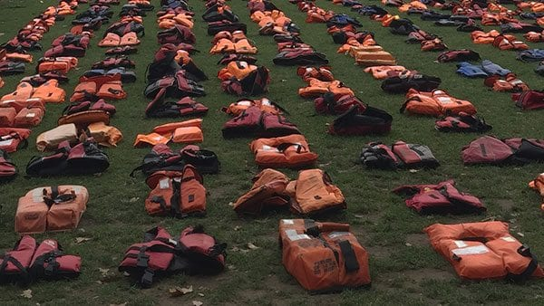 Refugee lifejackets - outside the Houses of Parliament (September 2016)