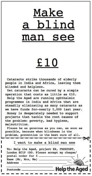 Make a blind man see £10 - Help the Aged advert