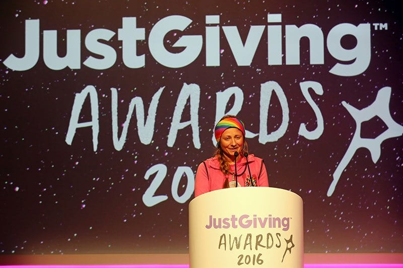 Natalia Spencer wins Endurance Fundraiser of the Year at the JustGiving Awards 2016.