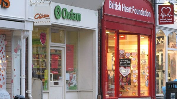 Oxfam and British Heart Foundation charity shops, Saffron Walden, Essex