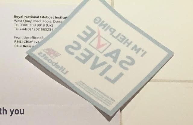 RNLI welcome sticker
