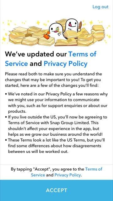Snapchat's T&Cs