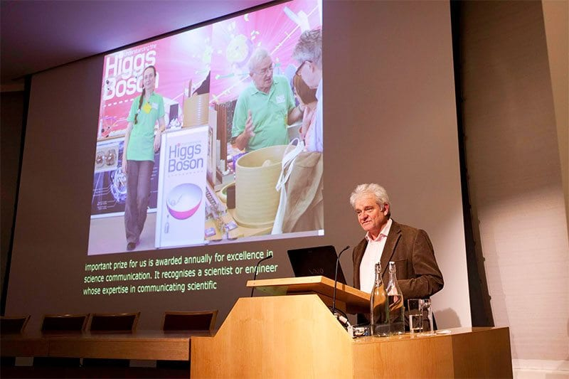 Stagetext live-subtitles for Michael Faraday Lecture by Professor Frank Close. Photo: The Royal Society