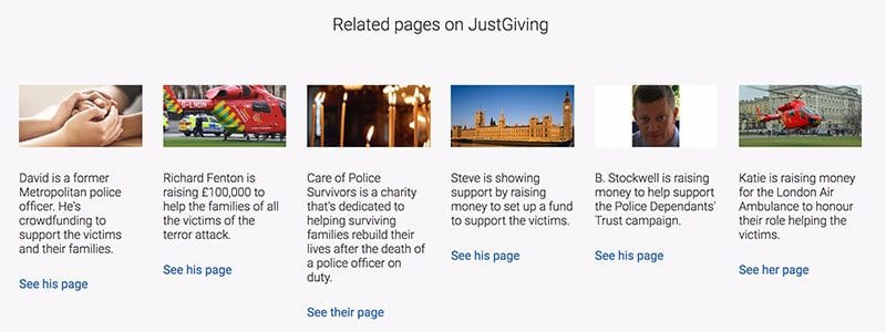 JustGiving appeals following the London terror attack of 22 March 2017