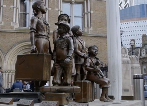 Kindertransport memorial statue outside London's Liverpool Street Station