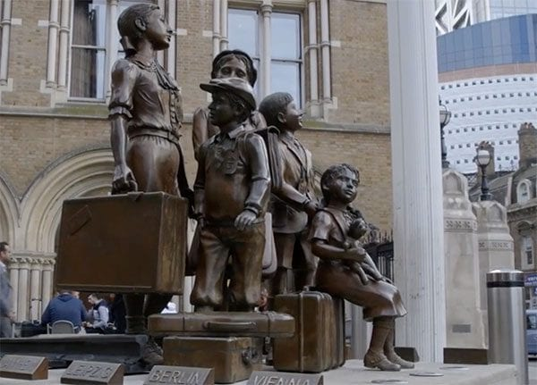Kindertransport memorial statue outside London's Liverpool Street Station