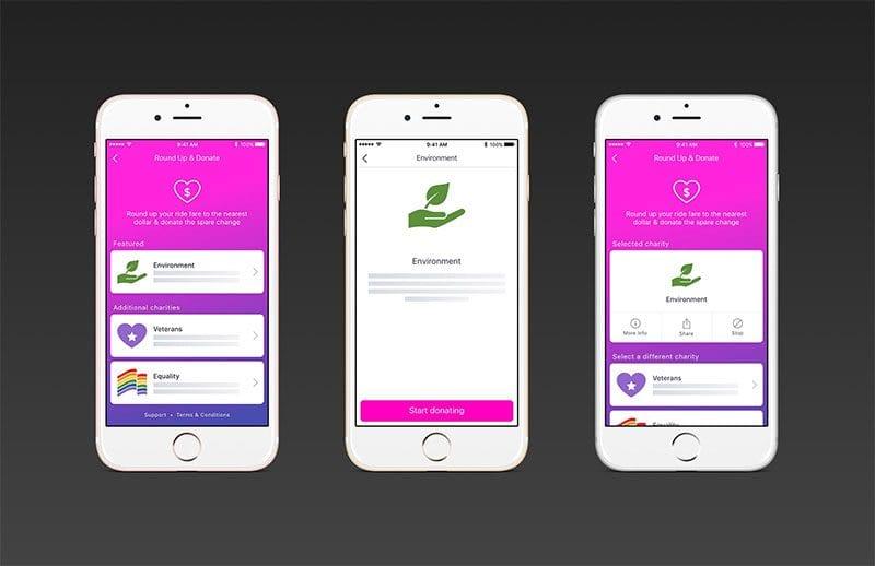 Lyft's RoundUp & Donate options