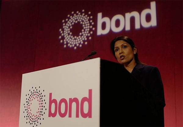 Priti Patel at Bond conference. Photo: BOND