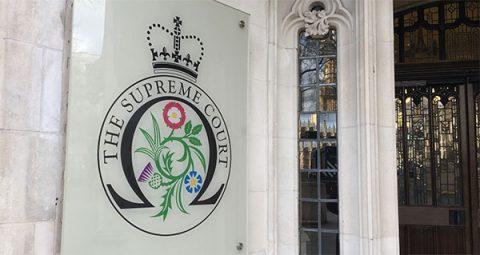 Supreme Court of Justice entrance, London's Parliament Square