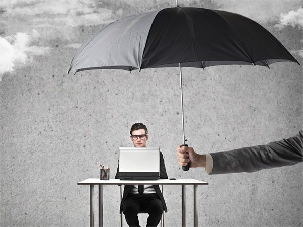 Data protection - umbrella over laptop