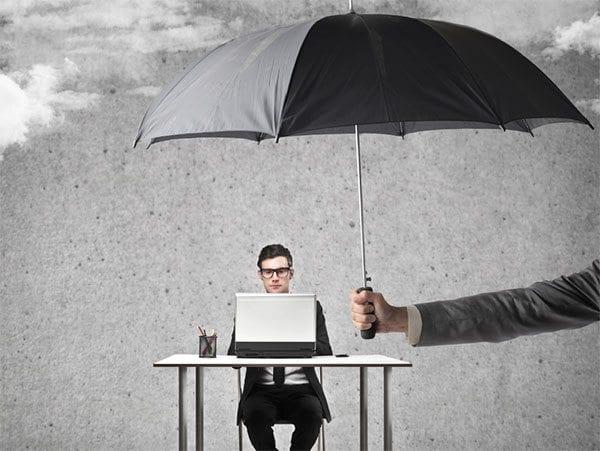 Data protection - umbrella over laptop