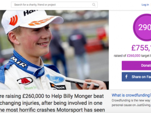 Billy Monger appeal becomes fastest ever JustGiving fundraising campaign