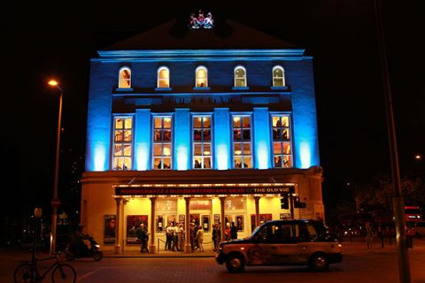 The Old Vic illuminated blue to support Heads Together