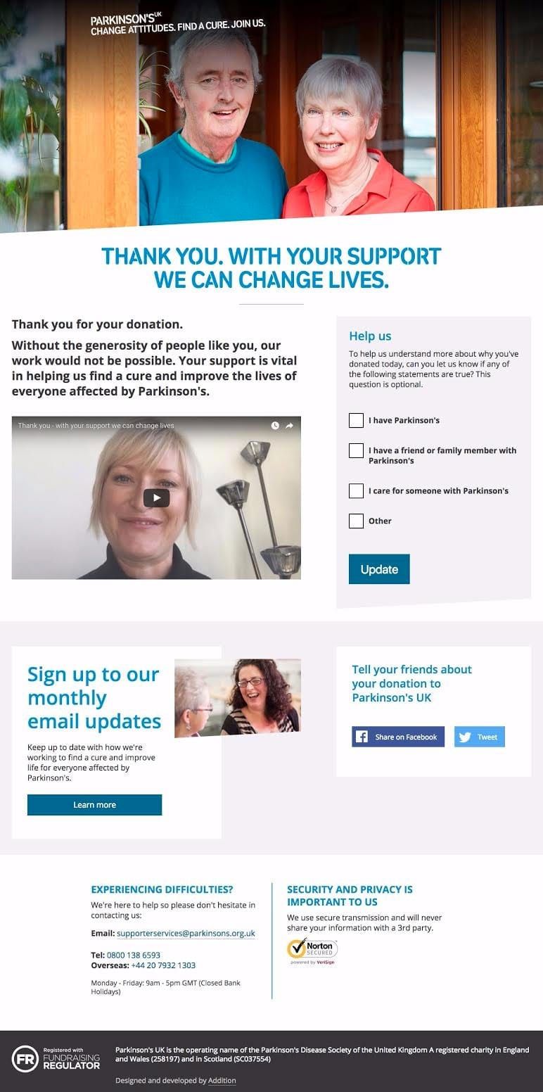 Parkinson's UK new thank you page