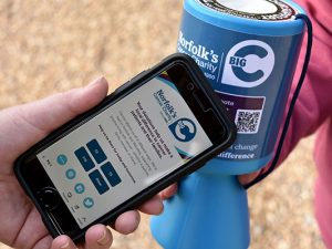 Cashless giving added to traditional charity collection boxes and buckets