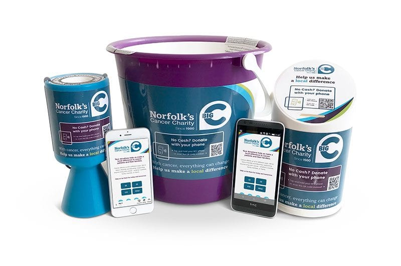 Angal cashless collecting tins and buckets