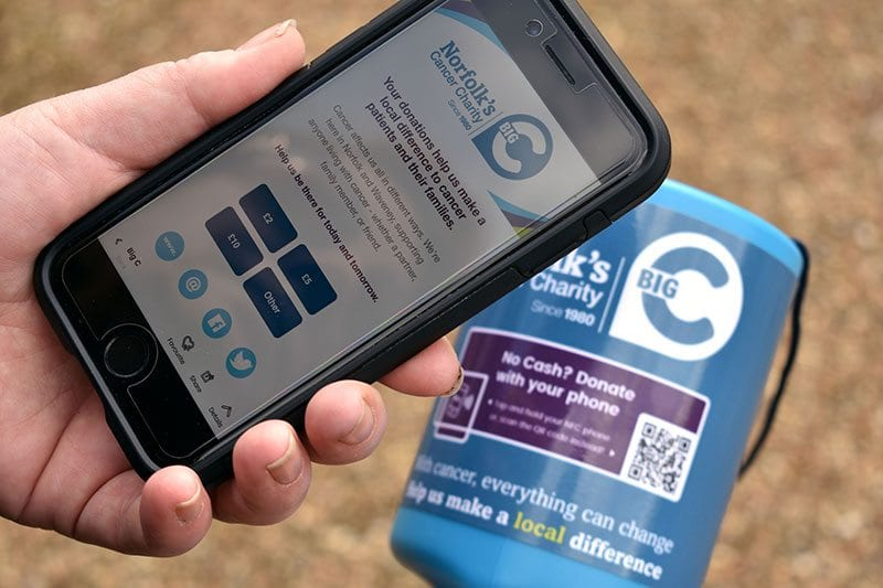 Smartphone and contactless charity collecting box