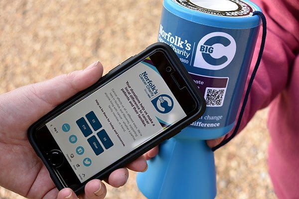Contactless collecting boxes via Thyngs and Angal