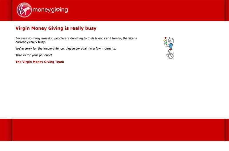 Virgin Money Giving site at 1.02pm on Sunday 23 April 2017