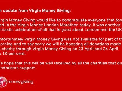 Virgin Money Giving site crashes on day of Virgin Money London Marathon
