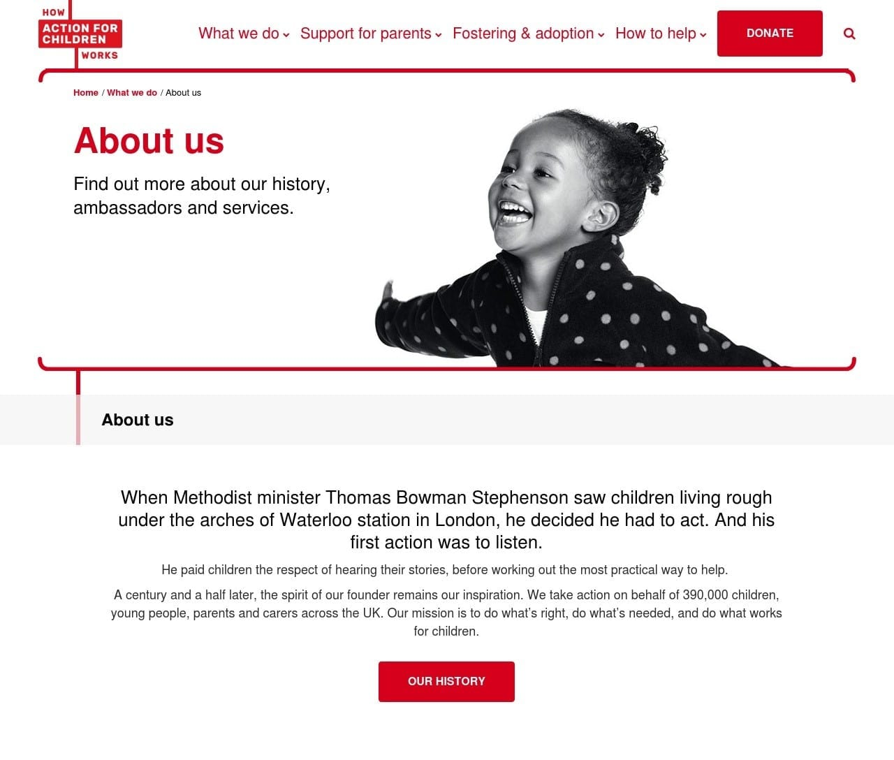 Action for Children About Us page